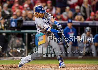13 October 2016: Los Angeles Dodgers third baseman Justin Turner hits a 2-RBI triple in the 7th inning of the NLDS Game 5 against the Washington Nationals at Nationals Park in Washington, DC. The Dodgers edged out the Nationals 4-3, to take Game 5, and the Series, 3 games to 2, moving on to the National League Championship against the Chicago Cubs. Mandatory Credit: Ed Wolfstein Photo *** RAW (NEF) Image File Available ***