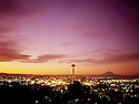 BI032,838-01...WASHINGTON - A 1965 photograph of sunrise over downtown Seattle with Mount Rainier in the distance.