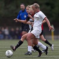 Boston College forward/midfielder Rachel Davitt (24) drives for the net as NC State midfielder Kristina Argiroff (15) defends. Boston College defeated North Carolina State,1-0, on Newton Campus Field, on October 23, 2011.