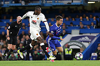Chelsea's Eden Hazard takes the ball past Watford's Abdoulaye Doucoure during Chelsea vs Watford, Premier League Football at Stamford Bridge on 15th May 2017