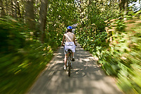 Biking along the Tony Knowles Coastal Trail, Anchorage, Alaska