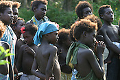 Children on Puil Island, Carteret Atoll, Papua New Guinea, on Sunday, Dec. 10, 2006.