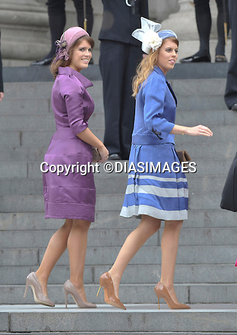 """PRINCESSES BEATRICE AND EUGENIE.QUEEN CELEBRATES DIAMOND JUBILEE.The Queen and 50 members of the Royal Family attended a church service to celebrate her Diamond Jubilee at St. Paul's Cathedral, London_05/06/2012.Mandatory Credit Photo: ©Francis Dias/DIASIMAGES..**ALL FEES PAYABLE TO: """"NEWSPIX INTERNATIONAL""""**..IMMEDIATE CONFIRMATION OF USAGE REQUIRED:.Newspix International, 31 Chinnery Hill, Bishop's Stortford, ENGLAND CM23 3PS.Tel:+441279 324672  ; Fax: +441279656877.Mobile:  07775681153.e-mail: info@newspixinternational.co.uk"""