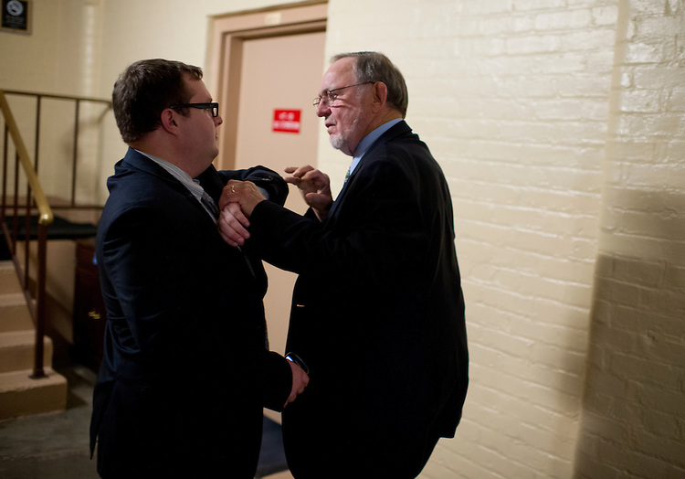 UNITED STATES - JULY 31: Rep. Don Young, R-Alaska, confronts an aide who tried to stop him from entering the side door of a House Republican meeting in the Capitol, July 31, 2014. Members are not supposed to use the side door when a meeting is in progress. Young was eventually allowed to pass. (Photo By Tom Williams/CQ Roll Call)