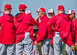 25 February 2016: Washington Nationals Bench Coach Chris Speier reviews signals with players during the first full squad Spring Training workout at Space Coast Stadium in Viera, Florida. Mandatory Credit: Ed Wolfstein Photo *** RAW (NEF) Image File Available ***