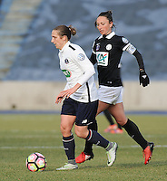 20170129 - LILLE , FRANCE : LOSC's Maud Coutereels (L) and Juvisy's Gaetane Thiney (R) pictured during women soccer game between the women teams of Lille OSC and FFC Juvisy Essonne  during the 1/16 final for the 2017 French Cup at stade Lille Metropole , Sunday 29th of January ,  PHOTO Dirk Vuylsteke | Sportpix.Be