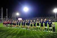 The Bath Rugby team participate in a minute's applause in honour of the late Anthony Foley. European Rugby Challenge Cup match, between Bath Rugby and Bristol Rugby on October 20, 2016 at the Recreation Ground in Bath, England. Photo by: Patrick Khachfe / Onside Images