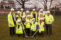 Pictured at the Turf Cutting Ceremony at Annie Holgate Primary School in Hucknall, front row from left are Abbey Davies, 6, Tyrell Atkinson, 7, Isabella Richards, 9, Alfie Grant, 6 and China Atkinson, 5 whilst looking on back row from left are Richard Charman of Kier, Nicola Davies, Executive Head Teacher, Matt Bray of Kier, Loretta Day, Assistant Head Teacher, Martin Burton of Kier, Chair of Governers Colin Lumbis, and Emma Severn, Head of School