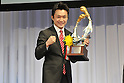 Toshiaki Nishioka,.JANUARY 25, 2012 - Boxing :.Professional's MVP winner Toshiaki Nishioka poses with the trophy during the Japan's Boxer of the Year Award 2011 at Tokyo Dome Hotel in Tokyo, Japan. (Photo by Hiroaki Yamaguchi/AFLO)
