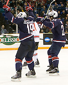 Jordan Schroeder (USA - 19), Kyle Palmieri (USA - 23) - Team USA defeated Team Switzerland 3-0 on Sunday, December 27, 2009, at the Credit Union Centre in Saskatoon, Saskatchewan, during the 2010 World Juniors tournament.