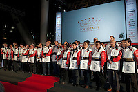 Many of the world's top chefs are assembled on stage for the opening ceremony of Tokyo Taste, The World Summit of Gastronomy 2009. 9 February 2009,Tokyo, Japan.Many of the world's top chefs are assembled for the sold-out 3 day event in the center of Tokyo.
