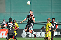 Perry Kitchen (23) of D.C. United head the ball. The Columbus Crew defeated D.C. United 2-1 ,at RFK Stadium, Saturday March 23,2013.