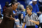 25 November 2014: Buffalo head coach Felisha Legette-Jack (left) complains to referee Karen Gruca (right). The Duke University Blue Devils hosted the State University of New York Buffalo Bulls at Cameron Indoor Stadium in Durham, North Carolina in a 2014-15 NCAA Division I Women's Basketball game. Duke won the game 88-54.