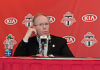 27 April 2013: Kevin Payne President and General Manager of Toronto FC speaks with the media during a press conference introducing Designated Player Matias Laba before an MLS game between the New York Red Bulls and Toronto FC at BMO Field in Toronto, Ontario Canada....
