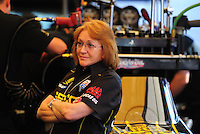 May 6, 2012; Commerce, GA, USA: Charlotte Lucas , mother of NHRA top fuel dragster driver Morgan Lucas (not pictured) during the Southern Nationals at Atlanta Dragway. Mandatory Credit: Mark J. Rebilas-