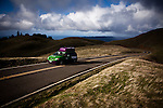 A car makes its way up the slopes of Mt. Tamalpais in Marin County, Calif., December 12, 2012.