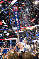 TAMPA, FL - August 30, 2012 - The floor at the Tampa Bay Times Forum at the conclusion of the 2012 Republican National Convention.