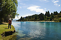 Lake Wanaka Outlet Walk on the Clutha River.  Outside of Queenstown, South Island, New Zealand