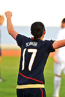 Meghan Schnur celebrates her goal.  The USWNT defeated Iceland (2-0) at Vila Real Sto. Antonio in their opener of the 2010 Algarve Cup on February 24, 2010.