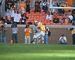 Tennessee defensive back Prentiss Waggner (23) returns an interception for a touchdown in a college football game at Neyland Stadium in Knoxville, Tenn. on Saturday, November 13, 2010. Tennessee won 52-14.