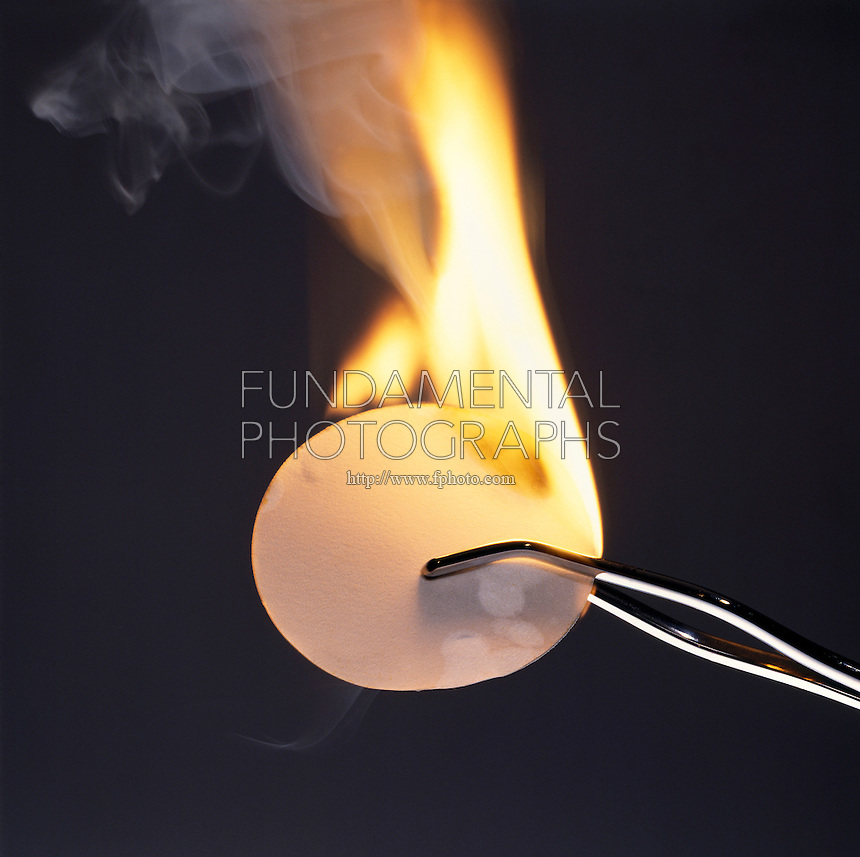 PHOSPHORUS (WHITE) BURSTS INTO FLAMES<br /> (3 of 7)<br /> Exothermic Reaction Between Oxygen and Phosphorus<br /> Finely divided white phosphorus, deposited on a piece of filter paper by evaporation of a carbon disulfide solution of P4, bursts into flames on contact with air.
