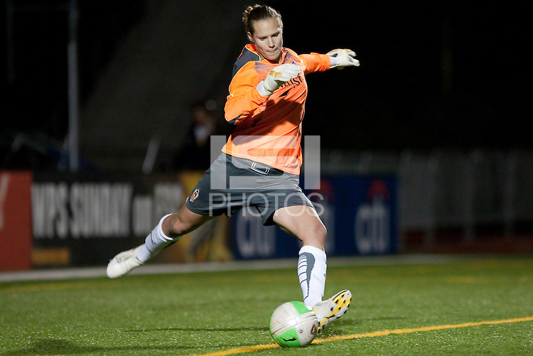 Allison Whitworth kicks out the ball. FC Gold Pride defeated the Atlanta Beat 2-1 at Castro Valley HS Athletic Stadium in Castro Valley, California on April 25th, 2010.