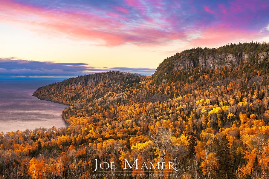 Autumn sunrise at Wauswaugoning Bay and Mount Josephine on Lake Superior's north shore.