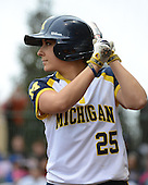 Michigan Wolverines catcher Lauren Sweet (25) on deck during the season opener against the Florida Gators on February 8, 2014 at the USF Softball Stadium in Tampa, Florida.  Florida defeated Michigan 9-4 in extra innings.  (Copyright Mike Janes Photography)