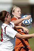 SAN ANTONIO, TX - NOVEMBER 2, 2011: Game 1 of the 2011 Big 12 Conference Women's Soccer Championship Quarterfinals featuring the Texas Tech University Red Raiders vs. The University of Texas Longhorns at the Blossom Soccer Stadium. (Photo by Jeff Huehn)