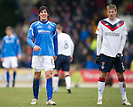 St Johnstone v Rangers...14.01.12  .Fran Sandaza and Dorin Goian.Picture by Graeme Hart..Copyright Perthshire Picture Agency.Tel: 01738 623350  Mobile: 07990 594431