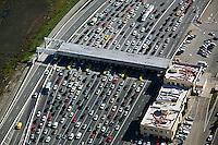 aerial photograph  automobile traffic at  toll plaza  San Francisco Oakland Bay Bridge