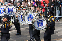 NEW YORK - NOVEMBER 24:  Members of the New York City Police Band perform during the annual Macy's Thanksgiving Day Parade on Thursday, November 24, 2011.