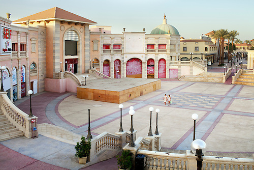 """Sharm el Sheikh, South Sinai, July 2014. Outdoor shopping centre """"Il mercato"""", which reproduces the architecture of famous Italian buildings."""