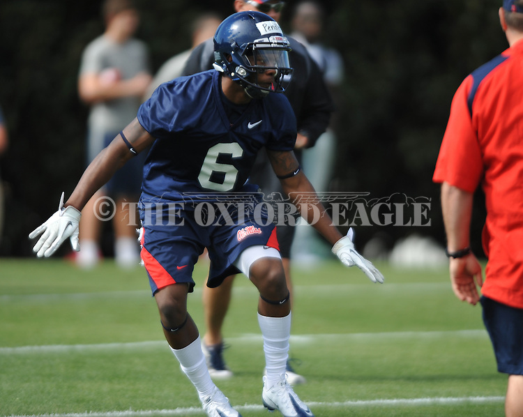Ole Miss' Wesley Pendleton (6) at  spring practice in Oxford, Miss. on Friday, March 23, 2012. (AP Photo/Oxford Eagle, Bruce Newman)