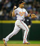 Baltimore Orioles shortstop Ceasar Izruris throws to first base against the Oakland Athletics at SAFECO Field in Seattle April 19, 2010. The  Mariners beat the Orioles 8-2. Jim Bryant Photo. &copy;2010. ALL RIGHTS RESERVED.