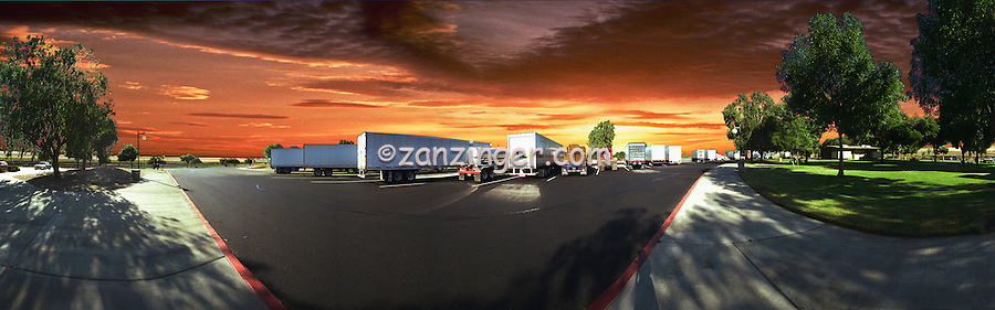 Highway, Truck Stop, Sunset, Panorama CGI Backgrounds, ,Beautiful Background