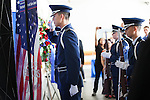 The color guard stands in salute to the late Lt. Kenneth M. Ballard. <br />