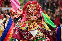 Protector deities tames demons & negativity  at the Monlam Chenpo, Katok Dorjeden Monastery - Kham, (Tibet), Sichuan, China