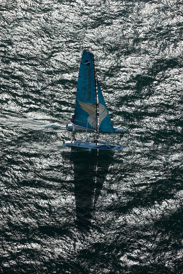 Extreme Sailing Series 2011. Leg 1. Muscat. Oman.Day 1 of racing. The Oman Air EX40 skippered by Sidney Gavignet with team mates Nasser Al Mashari, David Carr and Kinley Fowler