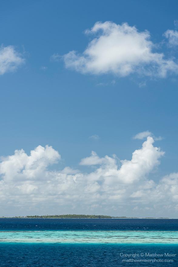 Toau Atoll, Tuamotu Archipelago, French Polynesia; view of the shallow turquoise blue water inside Toau Atoll