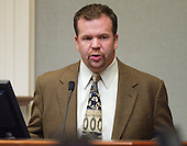 Defense witness Jason L. Milam, a private investigator from Baton Rouge, Louisiana,  testifies during the trial of sniper suspect John Allen Muhammad in the Virginia Beach Circuit Court in Virginia Beach, Virginia on November 12, 2003.   <br /> Credit: Lawrence Jackson - Pool via CNP