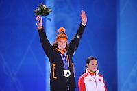 OLYMPICS: SOCHI: Medal Plaza, 14-02-2014, 1000m Ladies, podium, Ireen Wüst (NED), ©foto Martin de Jong