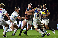 Joe Marler of Harlequins takes on the Exeter Chiefs defence. Aviva Premiership match, between Harlequins and Exeter Chiefs on April 14, 2017 at the Twickenham Stoop in London, England. Photo by: Patrick Khachfe / JMP