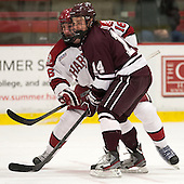 Alex Fallstrom (Harvard - 16), John Lidgett (Colgate - 14) - The Harvard University Crimson defeated the Colgate University Raiders 4-1 (EN) on Friday, February 15, 2013, at the Bright Hockey Center in Cambridge, Massachusetts.