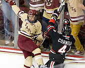 Johnny Gaudreau (BC - 13), Dan Cornell (NU - 4) - The Boston College Eagles defeated the visiting Northeastern University Huskies 3-0 after a banner-raising ceremony for BC's 2012 national championship on Saturday, October 20, 2012, at Kelley Rink in Conte Forum in Chestnut Hill, Massachusetts.