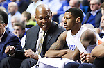 Kenny Payne talks to Guard Charles Matthews on the sidelines during the game against the Mississippi State Bulldogs at Rupp Arena on January 20, 2015 in Lexington, Kentucky. Photo by Taylor Pence