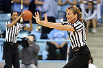 05 January 2014: Referee Dee Kantner. The University of North Carolina Tar Heels played the University of Maryland Terrapins in an NCAA Division I women's basketball game at Carmichael Arena in Chapel Hill, North Carolina. Maryland won the game 79-70.