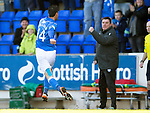 St Johnstone v Dundee....11.04.15   SPFL<br /> Brian Graham celebrates his goal with manager Tommy Wright<br /> Picture by Graeme Hart.<br /> Copyright Perthshire Picture Agency<br /> Tel: 01738 623350  Mobile: 07990 594431