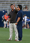 14 July 2007: United States head coach Greg Ryan (l) with assistant coach Bret Hall (r). The United States Women's National Team defeated their counterparts from Norway 1-0 at Rentschler Stadium in East Hartford, Connecticut in a women's international friendly soccer game.