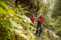 Pfunds, Tiroler Oberland, Austria, August 2009. Hiking the hidden gorge of the Radurschl Klamm canyon. The klammsteig trail leads through the green wilderness that is cut out by mountain creeks and waterfalls. Photo by Frits Meyst/Adventure4ever.com